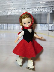 At the rink (Foxy Belle) Tags: vintage doll betsy mccall ice skate skating rink felt skirt red white black original tiny hard plastic 1950s diorama scene winter sport