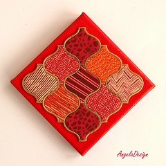 Deep red Polymer clay quilt (Angela.B) Tags: polymerclay polymer pattern walldecor wallhanging fimo colorful multicolor quilt