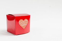 Red square gift box with a heart (wuestenigel) Tags: romantic day wedding space background holiday female shaped girl celebration love giving message decoration design isolated white view present gift hands surprise red valentine studio valentines ribbon top box object heart romance symbol birthday one