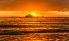 Sunrise Seascape with Island (Merrillie) Tags: daybreak landscape nature southcoast mountains dawn water orange sea nsw sun batemansbay beach ocean australia waterscape scenery coastal island sunrise seascape newsouthwales coast clouds snapperisland
