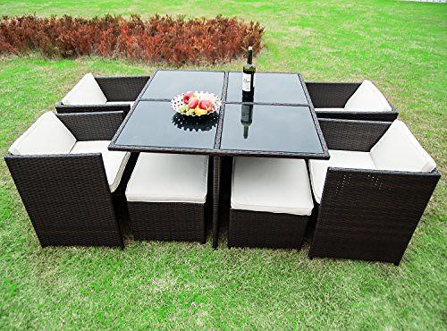 Merax 9-piece Outdoor Cube Rattan Garden Furniture Set Wicker Rattan Desk and Chairs (Brown) Review