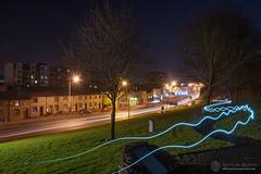 Drogheda 1916 Memorial Garden (mythicalireland) Tags: night paintingwithlight 1916 memorial garden drogheda louth john street dual carriageway butter gate trees long exposure light trails