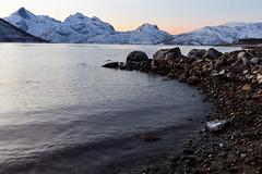 cold rocky beach (Role Bigler) Tags: arctic beach cold mountains norge norway rock rocks rockybeach sea shore snow winter tromsø tromsö