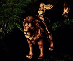Lion Queen (JarSephora) Tags: rare alchemy mount burdy outfit birdy gacha celeste blueberry iconic doll bra white exile gift group maitreya lara mesh body realevil wil comp fire secondlife second life sl style fashion fash glam jungle nature wild