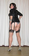 leather dress, seamed stockings and cougar prints (Barb78ara) Tags: leather dress leatherdress panties animalprint animalprintpumps cougarpanties cougarprint pumps pumphighheels highheels stilettoheels stilettohighheels lbd littleblackdress stockings seamedstockings seams nylon nylons