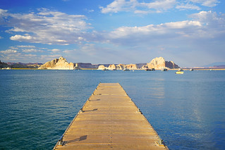 Wooden pier on the Lake Powell, USA