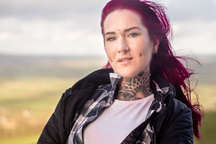 Stranger 445 - Steph (Andrew The Professor) Tags: glastonbury glastonburytor stranger steph tattoo tattooartist basingstone hair wind windy countryside portrait outdoor outdoors 50mm noreflector