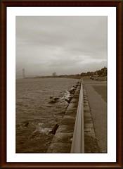 """Embankment: Perpetually Caressed By Never-Ending Motion..."" (Alexxir) Tags: brooklyn verrazanobridge blackandwhitephotography bw embankment granite perspective runningtrack ocean bay alexxirphoto"