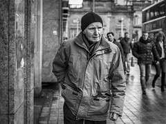 The Back Pocket (Leanne Boulton) Tags: portrait people urban street candid portraiture streetphotography candidstreetphotography candidportrait streetportrait streetlife old elderly man male face expression eyes look emotion mood feeling walking winter tone texture detail depthoffield bokeh naturallight outdoor light shade city scene human life living humanity society culture canon canon5d 5dmkiii 50mm primelens ef50mmf14usm black white blackwhite bw mono blackandwhite monochrome glasgow scotland uk