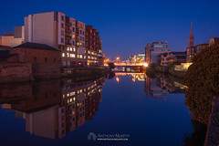 Drogheda at blue hour (mythicalireland) Tags: drogheda town blue hour twilight evening dusk buildings river boyne water reflection church steeple fitzwilliam court tower st marys nikon