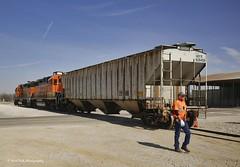 Dropping Off a Hopper Railcar (Kool Cats Photography over 10 Million Views) Tags: gp392 locomotive train tracks orange bnsf oklahoma
