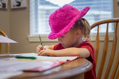 Homework with Flair (Angela Weirauch Photography) Tags: pearland texas hat homework pink 50mm prime canon canon6d 6d girl table window