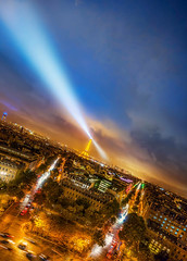The Ever Searching Eiffel Tower (Jacob Surland) Tags: arch archoftriumph architecture art avenuekléber avenuedlena blue bluehour bluesky bluelight building car cars caughtinpixels city citybynight citylife citylight cityscape clouds cloudscape cloudy colors country drama dramaticclouds dramaticsky eiffeltower fineart france geometry hdr highdynamicrange jacobsurland light lightbeams lights lines night oldbuilding orange paris parisbynight placedecharlesdegaulle rainystreet realismdigitalart round square street streetlamp streets sunset sunsettoureiffel time toureiffel tower trafic vehicle warmlight wetstreet