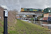 Eighty Two Miles (whosoever2) Tags: uk united kingdom gb great britain nikon d7100 train railway railroad february 2018 trent mersey canal wincham wharf northwich lostock cheshire freightliner class66 66508 6f70 tunstead garston freight narrowboat