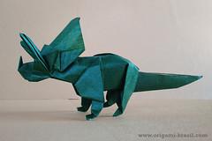 Triceratops by Jerry Harris (origami_artist_diego) Tags: origami triceratops dinosaur kraft blog paperfolding papiroflexia dobradura