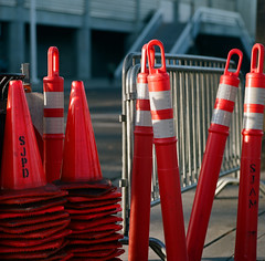 San Jose (bior) Tags: portra160 portra kodakportra160 120 mediumformat hasselblad500cm 6x6cm sanjose santaclarastreet cones pylons sanjosearena sharktank