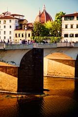 golden bridge (khrawlings) Tags: arno river bridge florence italy tuscany duomo city urban sun evening golden ponteallegrazie