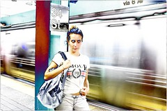 Reality is Elsewhere (Steve Lundqvist) Tags: new york usa states united america manhattan stati uniti travel trip viaggio model urban city portrait ny nyc persone ritratto ambient light fashion moda mood attractive beauty subway metropolitan metro tube tunnel fujifilm x100s streetphotography train underground fast passing lighting background solarization solarize photoshop effect editing treatment surreal surreality