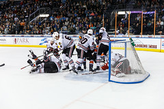 """Kansas City Mavericks vs. Indy Fuel, February 17, 2018, Silverstein Eye Centers Arena, Independence, Missouri.  Photo: © John Howe / Howe Creative Photography, all rights reserved 2018 • <a style=""""font-size:0.8em;"""" href=""""http://www.flickr.com/photos/134016632@N02/40342595272/"""" target=""""_blank"""">View on Flickr</a>"""