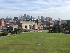 View of Kansas City from the North Wall (procrast8) Tags: kansas city mo missouri world war memorial museum one place town pavilion power light building union station henry bloch fountain wollman crown center