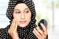 woman with cotton pad applying face powder (niharikaverma22) Tags: adult applying asian attractive bare bathroom beautiful beauty body bright care closeup cosmetic cosmetology cotton face facial female fresh girl hand head healthy hijab islam isolated lotion makeup muslim natural one pad person portrait pretty scarf skin skincare treatment veil white woman young