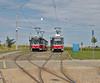 Technologický Park, Brno (Debarshi Ray) Tags: czech brno královopole summer city green tram sky blue red white grass trees canon canoneos70d canonef50mmf18ii technologickýpark street road