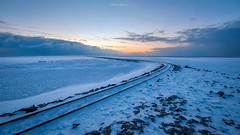 The Icy Track (Matt Rimkus Photography) Tags: schleswigholstein winter sunset sunsetbluehour frost icy northsea clouds northerngermany track snow reusenköge deutschland de