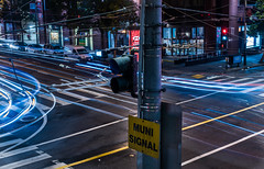 muni signal (pbo31) Tags: bayarea california nikon d810 color night dark black january 2018 winter city urban boury pbo31 sanfrancisco motionblur movement traffic lightstream motion roadway soma hotel 4th muni over marriott marquis light pole