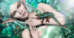 The lizard Queen (meriluu17) Tags: chameleon jian anima animal lizard climb wild jungle tropic elf elven fantasy queen nature teal light surreal pastel people portrait outdoor pixi fairy fae