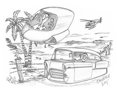 Emerald Bay (rod1691) Tags: myart art sketchbook bw scifi grey concept custom car retro space hotrod drawing pencil h2 hb original story fantasy funny tale automotive illistration greyscale moonpies sketch sexy laguna emeraldbay