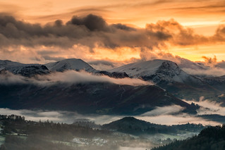 Sunset Cat Bell range from Blencathra