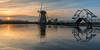 Today's Sunset in Kinderdijk. (Wim Boon (wimzilver)) Tags: wimboon kinderdijk unescoworldheritage holland nederland netherlands winter windmill reflections reflectie canoneos5dmarkiii canonef2470mmf28liiusm sunset
