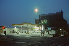 Shell Station, 5th Avenue at 36th Street, Brooklyn (josephkrings) Tags: brooklyn cinestill800t nyc nikkor28105mm13545d nikonn70 shell sunsetpark cityscape morning 35mm analog film