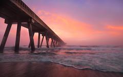 Disappearing act (Theresa Rasmussen) Tags: wrightsvillebeach wilmington northcarolina sunrise sunrisepink sunset nc beaches obx longexposure