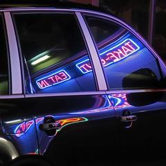 dinner to go (jim_ATL) Tags: night purple neon sign fast food car window reflection keywest florida explored