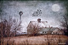 illmill2_184065 (rjmonner) Tags: windmill windmillwednesday illinois midwest rural reworked artistic texture decay barn moon birds cupola winter brown gray farm farming agricultural farmyard