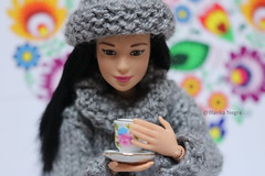 Mmm hot cuppa.. (Blanka Negra) Tags: barbie barbiedoll fashiondoll madetomove tea cuppa winter folk knitted
