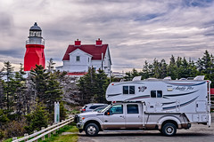 Long Point Lighthouse and our rig (Brett of Binnshire) Tags: historicbuilding truckcamper arcticfox truck highdynamicrange weather f350sd ford hdr on1raw clouds lrhdr strider lighthouse locationrecorded twillingate lightroomhdr architecture canada manipulations tower house newfoundland crowheadnorthtwillingate