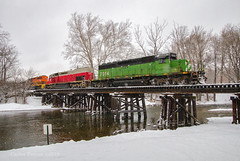 Skittles in the Snow (Wheelnrail) Tags: lima south local io iory train trains sd402 hlcx emd locomotive railroad rail road rails snow winter cold buck creek trestle springfield ohio river skittles color