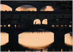 Twilight in Florence (The Stig 2009) Tags: pontevecchio bridge water river firenze florence italy twilight thestig2009 thestig stig 2009 2018 tony o tonyo silhouette archways bridges people tourists