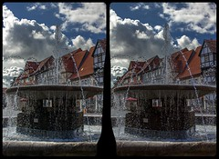 Waterspout fountain 3-D / CrossEye / Stereoscopy / HDR / Raw (Stereotron) Tags: sachsenanhalt saxonyanhalt ostfalen harz mountains gebirge ostfalia hardt hart hercynia harzgau quedlinburg waterspout fountain springbrunnen europe germany crosseye crosseyed crossview xview cross eye pair freeview sidebyside sbs kreuzblick 3d 3dphoto 3dstereo 3rddimension spatial stereo stereo3d stereophoto stereophotography stereoscopic stereoscopy stereotron threedimensional stereoview stereophotomaker stereophotograph 3dpicture 3dglasses 3dimage twin canon eos 550d yongnuo radio transmitter remote control synchron kitlens 1855mm tonemapping hdr hdri raw
