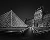 Midnight Light I - Paris Louvre Museum (Julia-Anna Gospodarou) Tags: paris parisphotography blackandwhite blackandwhitefineartphotography architecture architecturalphotography envisionography photographydrawing phtd juliaannagospodarou nightphotography parisnightphotography modernarchitecture