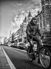 you can't be sad while riding a bicycle (ercan.cetin) Tags: bicycle antwerp belgium belgien belcika antwerpen blackandwhite blackwhite bw siyahbeyaz sokakfotografciligi streetphotography strassenfotografie olympus olympusphotography flickr