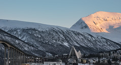 Tromsdalstinden (asbjørnhbogstad) Tags: ice snow winter tromsø norway mountain blue white cold north sun sunset church bridge architecture cathedral