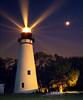 Amelia Island Lighthouse: Fernandina Beach, Florida (Lerro Photography) Tags: lighthouse amelia island fernandina beach florida fl night sky long exposure moon beams beacon beacons