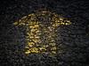 Cracked Asphalt Yellow Arrow (Orbmiser) Tags: olympus40150mmf4056r 43rds em1 mirrorless omd olympus ore oregon portland cracked asphalt arrow yellow