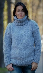 Sexy women in mohair turtleneck (Mytwist) Tags: light grey hand knitted mohair wool sweater fuzzy soft pullover extravagantza sweatergirl outfit knitwear style fashion love passion turtleneck warm woolfetish winter wolle grobstrick handgestrickt handknitted handcraft bulky knitting sexy fisherman female