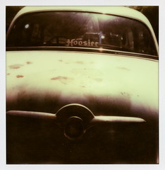 Hoosier (tobysx70) Tags: the impossible project tip polaroid slr680 frankenroid sx70 door rollers px 680 px680 color shade protection instant film impossaroid hoosier beachwood drive canyon hollywood hills los angeles la california ca sticker decal 1952 packard classic car automobile chrome back rear window trunk toby hancock photography