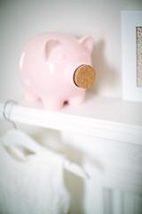 Oxted, England - Piggy Bank (Regan Gilder) Tags: piggybank bank pig pink dress christeningdress coathanger photoframe mantel fireplace bedroom nursery white canoneos5dmarkiii canon baby infant england uk oxted cork money