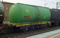 TTA BPO 37081 tank wagon is seen at Stratford Station on the evening of 3-7-98. Copyright Ian Cuthbertson (I C railway photo's) Tags: tank wagon tta bpo37801 stratfordstation bp